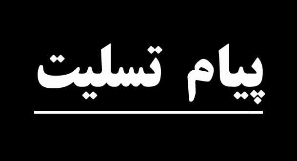 تسلیت خدمت آقای محمد ملک خانی عضو محترم شورای مرکزی و هیات رهبری- اجرائی جبهه ملی ایران